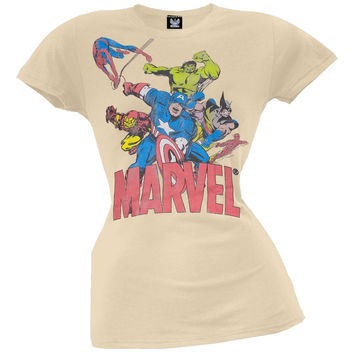 Marvel - 6 Heroes Tan Juniors T-Shirt