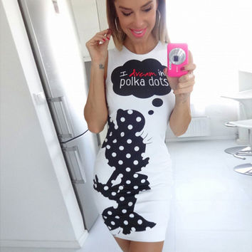 White Minnie Mouse Polka Dot Pattern Mini Dress