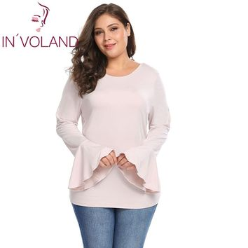 Women Tops Plus Sizes XL-6XL O-Neck Long Bell Sleeve Solid Large Pullovers Casual Tops