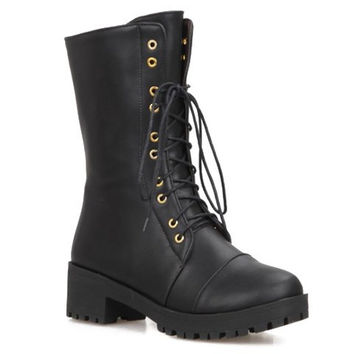 Fashionable Women's Short Boots With Lace-Up and Zipper Design