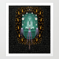 Temple of yoga in light peace and human namaste style Art Print by Pepita Selles