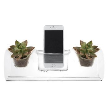 "2-in-1 Glass Planter and Smart Phone Amp - 11.5"" Long x 2.5"" Opening"