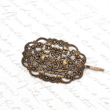 Filigree Bobby Pin Antique Brass Lace Hair Accessories Rustic Vintage Style Shabby Chic Old World Bridal Wedding Fashion Romantic Victorian