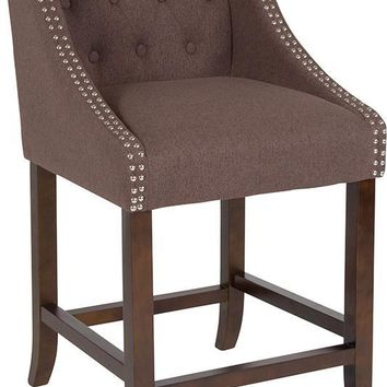 "Carmel Series 24"" High Transitional Tufted Walnut Counter Height Stool with Accent Nail Trim"