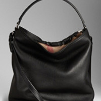 Medium Brit Check Leather Hobo Bag