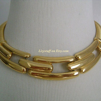 Vintage GIVENCHY High Shine Flexible Omega Chain Articulated Modernist Design Center Collar Classic Statement Necklace Bold & Fabulous 116g