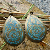 Teardrop  Bronze metal flower painted earrings.