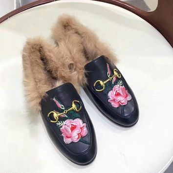 Guccl Women Fashion Casual Edgy Plus Velvet Embroidery Pattern Casual Shoes