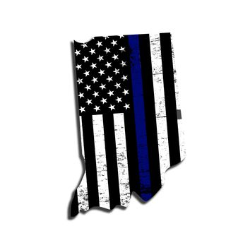 Indiana Distressed Subdued US Flag Thin Blue Line/Thin Red Line/Thin Green Line Sticker. Support Police/Firefighters/Military