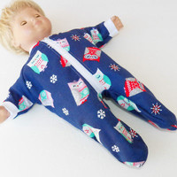 "Bitty Baby Clothes, fits 15"" Girl Doll, Blue Owl Flannel Pajamas, HANDMADE  new"
