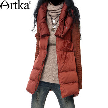Artka Women'S Autumn Winter Vintage Big Collar Long Sleeve Embroidery Patchwork Midi Thick Puff Down Coat YK17434D