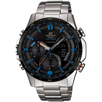 Casio ERA300DB-1A2 Men's Edifice Twin Sensor Illuminator Ana-Digi Black Dial Steel Bracelet Watch