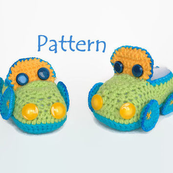 PATTERN: Crochet Baby booties/ slippers/ loafers/ clogs/ cleats/ sneakers/ moccasins/ boat shoes/ footgear for boys, car, size 0/6 months