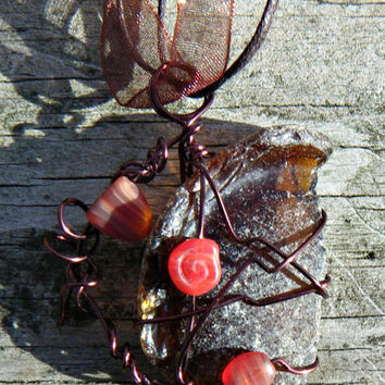Wire Wrapped Brown Bottle Bottom Sea Glass Necklace with dark red and brown glass beads