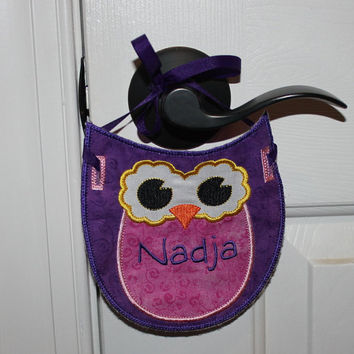 Girl Owl, Personalized Owl Banner, Personalized Owl Bunting, Owl Door Hanger - Custom Embroidery Applique , Handmade in USA