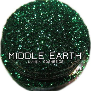 Middle Earth GLITTER Sample Size Mini Jar Deep Bright Emerald Jewel Gemstone Green Dragon Fairy Tale Glitter Collection Lumikki Cosmetics