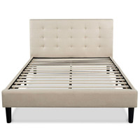 Queen Size Platform Bed Frame with Taupe Button Tufted Upholstered Headboard