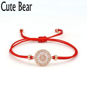 Cute Bear Brand Romantic Bracelet Women Fashion CZ Zircon Lucky Red Rope String Braiding Bracelets Female Friend Best Gift