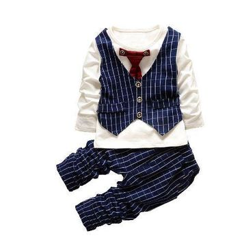 Long Sleeves Top + Pants Plaid Print Baby Boys Clothes Sets