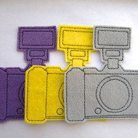 Iron On Patch Set of 3 Camera  with Flash Appliques