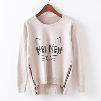 Knit Round-neck Cartoons Pullover Zippers Sweater [9067786884]