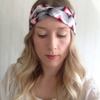 Aztec Turban - Baby Turban - Aztec headband - Yoga Headband  - tribal headband - Mommy & me turban  - Chevron Turban - Red Chevron Turban