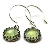 Dangly Prehnite Earrings, Oxidized Sterling Silver Earrings, Green Gemstone Earrings