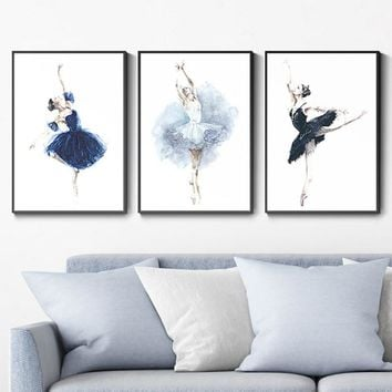 SURE LIFE Watercolor Ballet Poster Girls Wall Art Canvas Printings Paintings Pictures Gift for Bedroom Home Decorations