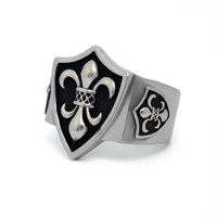 Fashionable simple cool cross flower pattern forefinger stainless steel ring
