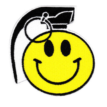 Cool Large Happy Smiley Face Grenade Patch Punk 9cm