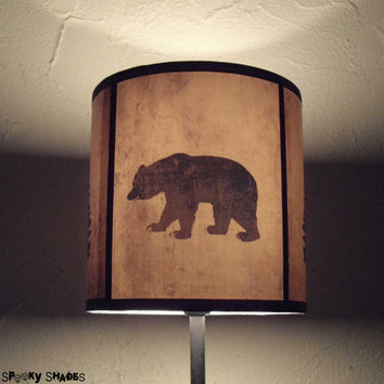 Woods Shadows lamp shade lampshade - woodland decor, bear lamp shade, animal, deer lamp shade, natural decor, christmas decor, holiday