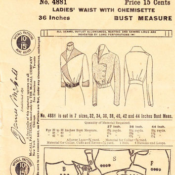 Antique Edwardian 1912 Ladies Waist Blouse Pattern with Chemisette High Neck or Stand Up Collar Vintage McCall 4881 Sewing Pattern Bust 36