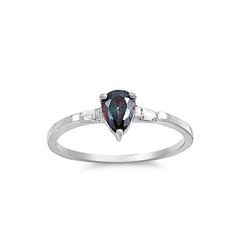 925 Sterling Silver CZ Teardrop Simulated Mystic Topaz Ring 8MM