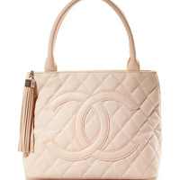Vintage Chanel Pink Canvas Quilted CC Bag From What Goes Around Comes Around by Vintage Chanel from What Goes Around Comes Around - Moda Operandi
