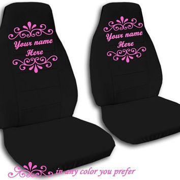2 Universal Personalized Monogrammed Auto Seat Covers. Front Bucket Seat Covers