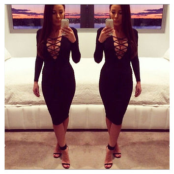 Women Sexy Lace Up Long Sleeve Bandage Club Bodycon Party Cocktail Pencil Dress Black