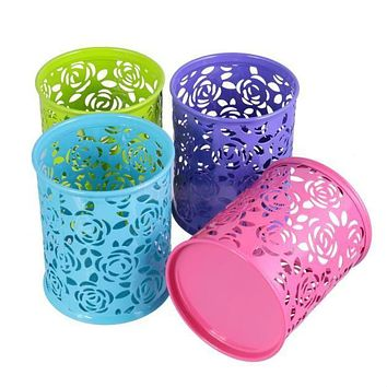 Metal Rose Flower Hollow Pen Pencil Pot Cylinder Container Makeup Cosmetic Brushes Holder Organizer