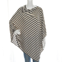 Black and Oatmeal Striped Poncho / Nursing Poncho / Lightweight Shawl / One shoulder Boho Top / New Mom Gift / Womens Poncho / Poncho Top