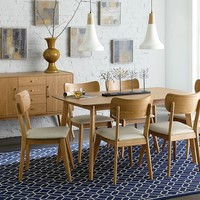 Home Elegance 1915-60 7 pc Anika collection light ash finish wood mid century modern style dining table set