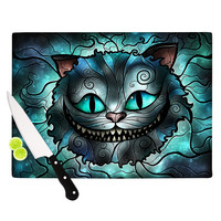 "Mandie Manzano ""Mad Chesire"" Teal Cat Cutting Board"