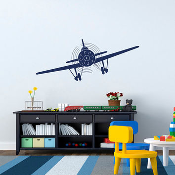 Airplane Wall Decals Stickers Biplane Vinyl Decal Children Playroom Kids Boys Room Bedroom Airplane Nursery Wall Art Aviation Decor Q184