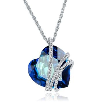"""""""Blue Heart Shaped Love"""" Pendant Necklace Made With Big Crystal of SWAROVSKI"""