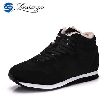 Winter Lightweight Outdoor Plus Size Men's Boots Warm Wool Women Walking Jogging Lace-up Sneakers Leather Athletic Sport Shoes