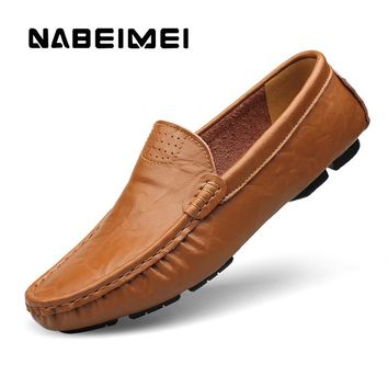 Brand men shoes Genuine Leather Plus size 4-16 yard slip-on Casual shoes zapatos mujer Full Grain Leather shoes men loafers