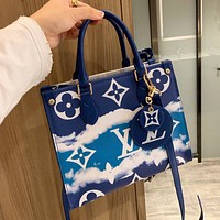 Louis Vuitton LV New Women's Gradient Printed Letter Shopping Tote