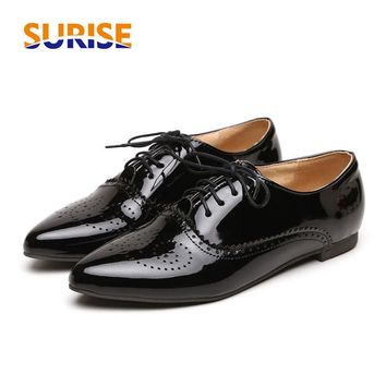Big Size Oxford Women Flats Patent Leather Pointed Toe Lace Up Spring Autumn Sexy Casual Dress Applique Blue British Lady Brogue