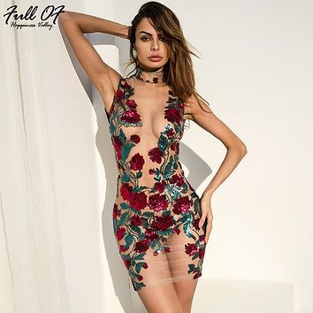 Sexy Women Mesh Embroidery Summer Sequins Dress 2018 New Off Shoulder Perspective Floral Luxury Nightclub Party Dresses vestidos