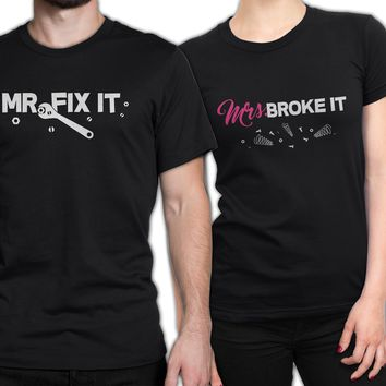 Couple Shirt Set, Mr. Fix it & Mr. Broke it Couple Shirts, Funny couples matching shirts, gifts for handyman, newlywed gift, Couple shirts, couple outfit, Mr. Fix it, Mrs. Broke it, couple shirt set