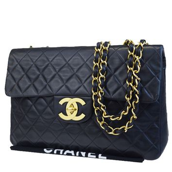 Auth CHANEL CC XL JUMBO Matelasse Quilted Chain Shoulder Bag Leather 622BC218