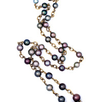 Yellow Gold Multi Color Pearl Necklace